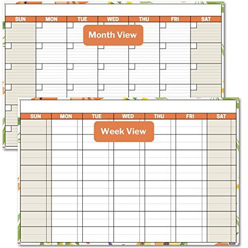 Dunwell 18x27 Dry Erase Wall Planner (Undated), Includes Extra 2020 Wall Calendar (Floral), 1 Reversible Undated Monthly Weekly Planner, Plus 2020 Wall Calendar, Laminated Erasable Paper Calendar
