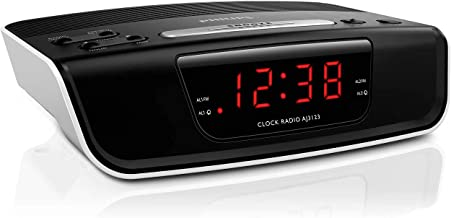 PHILIPS Digital Alarm Clock Radio for Bedroom with FM Radio, LED Display, Easy Snooze, Sleep Timer, Battery Backup (Batter...