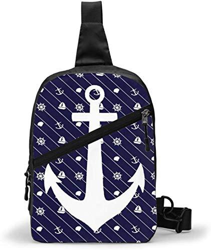 Weiße marineblaue gestreifte nautische Anker-Schultertasche, Schultertasche, Brusttasche, Outdoor, Wandern, Reisen, persönliche Tasche für Damen und Herren, wasserabweisend