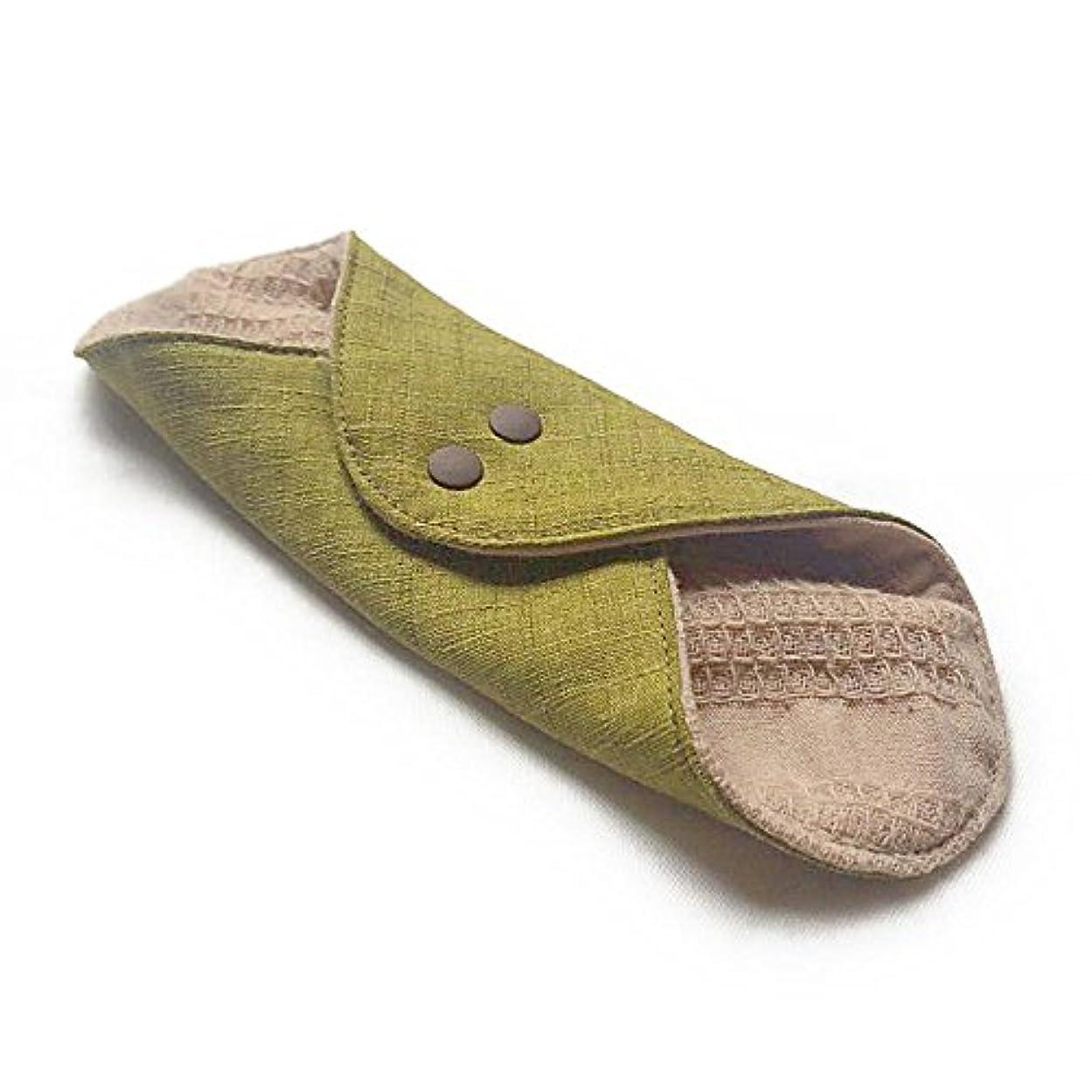 応じる医薬品仮定華布のオーガニックコットンのあたため布 Mサイズ(約15×約15cm) 彩り(抹茶)
