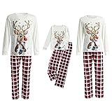 Pijamas de Navidad para padres e hijos a juego con conjuntos de pijamas familiares de ciervos navideños para adultos y niños y niñas, rojo, 11-12 Años