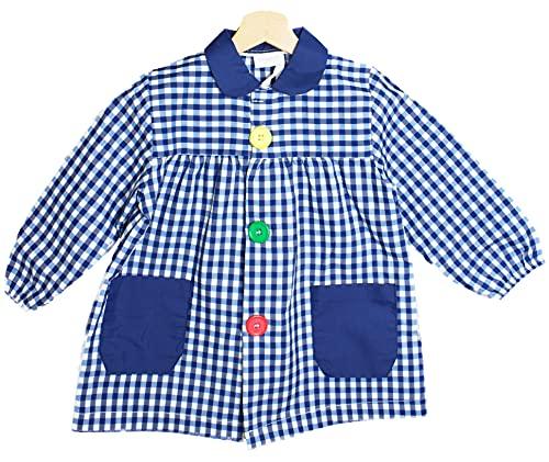 BeBright Babi Escolar Infantil, Bata Escolar Niña y Niño con botones, Mandilón de Guardería - Fabricados en España (Azul Marino, 1-2 años)