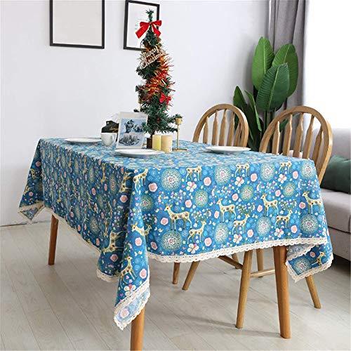 TENGDLOEA Mantel algodón y lino mantel mantel de Navidad linda simple decoración creativa de dibujos animados Mantel Mantel lavable Cubierta de mesa Suitablef for interiores y exteriores reuniones fam