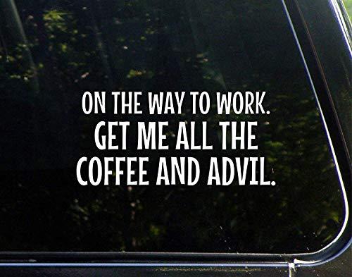 Auto Decals Grappig Op De manier om te werken Get Me Alle De Koffie en Advies Vinyl Bumper Sticker Decoratie voor Laptop Truck 20cm