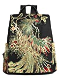 Glitter Embroidery Women Backpack Purse, Fashion Canvas Travel Anti-theft Rucksack School Shoulder Bag (Black)