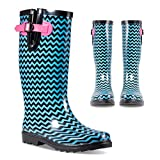 Twisted Women's Rubber Rain Boots | Ladies, Knee High, Jelly Lined Water Resistant, Black and Blue Chevron, 10