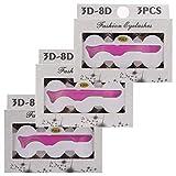 BC 3D Fake Eyelashes Fluffy Volume Long Nature Crisscross Wispies Soft False Lashes Handmade 3 Pair Pack (w003)