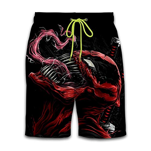 Dead-Pool and Ve-Nom 3D Printing Men's Shorts Drawstring Loose Casual Beach Shorts Swim Trunks Quick Dry Swimming Pants White