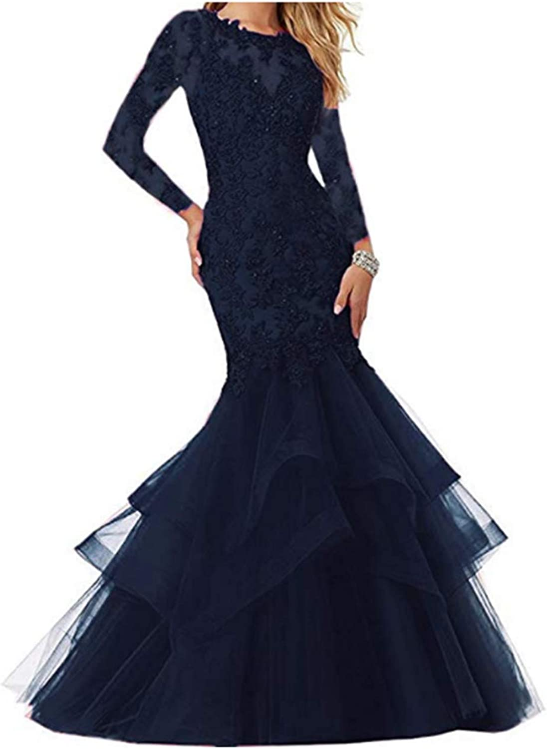 FWVR Women's Mermaid Appliques Prom Dresses Long Sleeves Evening Wedding Party Gowns