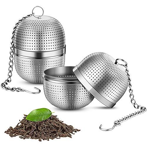 Homemaxs Infusor de té, 2 unidades, acero inoxidable 304, para té suelto, con base estable y cadena larga, conexión de rosca sellada, colador de té prémium para la mayoría de tazas y teteras