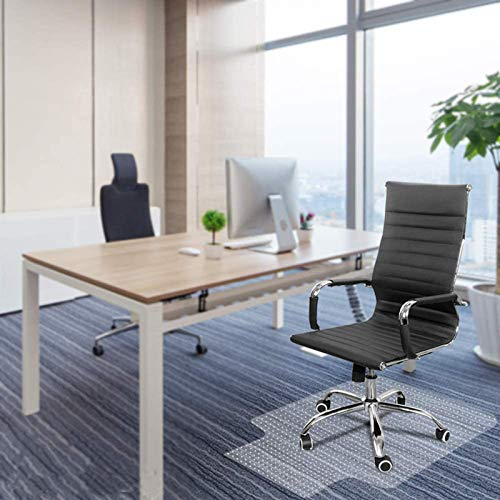 """Kuyal Office Chair Mat for Carpeted Floors, Heavy Duty, Transparent Protects Floors Mats for Low and Medium Pile Carpets 36"""" X 48"""" with Lip, Good for Desks, Office and Home, Clear (36"""" X 48"""" with Lip)"""