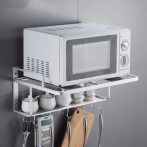 Soporte de microondas espacio estante de aluminio para horno de microondas doble capa soporte de pared para cocina, 55 x 38.5 x 25 cm