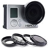 37mm UV Lente Filtro + CPL Filtro polarizador Circular + Tapa de Objetivo + Anillo Adaptador para GoPro Hero 43+ 3Cámara
