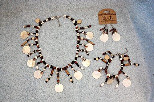 Hejoka-Shop NEUHEIT Ohrschmuck Set 3 TLG. Perlmutt-Stein-Knochen Collier+Armband+ Ohrringe EDEL