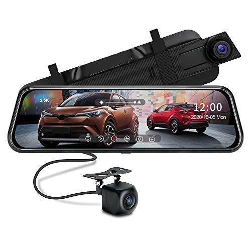 Cruscotto a specchio 2.5K, registratore di visione notturna con schermo touch da 10 pollici, telecamera di backup impermeabile 1080P Telecamera specchietto retrovisore per auto con cavo da 10 metri