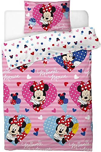Disney Minnie Mouse'Love Hearts' Single Duvet Cover Set