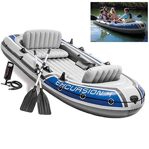 LTLWL Barca Hinchable Juego de Excursión Inflable para 4 Personas con Botes de Aluminio Y Bomba Kayak PVC Duradero Balsa para Rafting Gran Opción para Los Amantes de La Pesca o Los Deportes