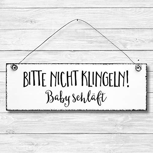 Bitte nicht klingeln Baby schläft - Dekoschild Türschild Wandschild aus Holz 10x30cm - Holzdeko Holzbild Deko Schild