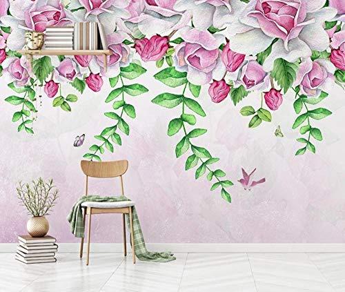 Wallpaper-CJW. Carta da parati fotografica Carta da parati 3D Fiore tridimensionale in Rilievo pittura Decorativa Muro di mattoni rossi-250 * 175 cm