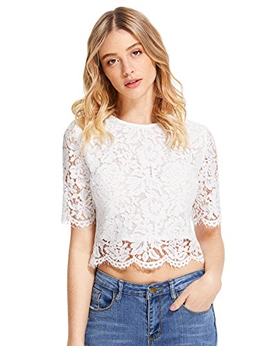 MakeMeChic Women's Short Sleeve Sexy Sheer Blouse Mesh Lace Crop Top White S