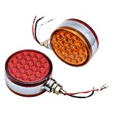 2pc 4' Round Double Face Single Stud Mount Red/Amber 48 LED Fender Reflective Stop Turn Signal Lights w/Chrome ABS Housing Sealed Compatible with Kenworth Peterbilt Freightliner Western Star Volvo