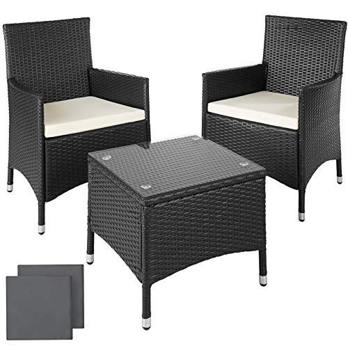 TecTake Salon de jardin Table de jardin en aluminium et poly rotin resine tressee chaises salon d'exterieur + deux set de housses, vis en acier inoxydable -diverses couleurs au choix- (Noir)