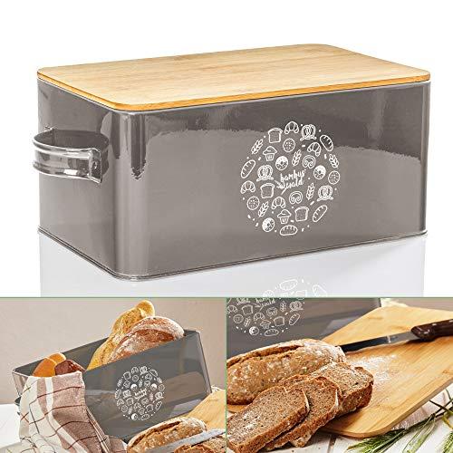 bambuswald© Brotbox aus Metall mit ökologischem Deckel aus Bambus - ca 40x21x16cm   Brotkasten für Croissants, Brot o. Brötchen   Brotbehälter mit Küchenbrett   Aufbewahrung Vorratdose Brotdose