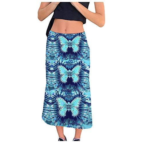 Liably Y2K - Falda de estilo bohemio para mujer, estilo informal azul S