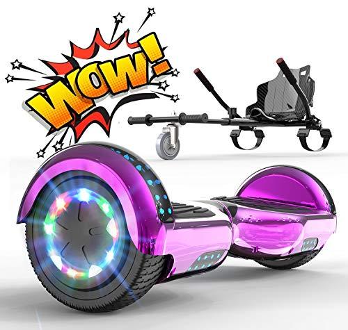 RCB Hoverboards mit Sitz Hoverkart komplett für Kinder, Elektro Skateboard mit Set, Elektroroller mit LED Lichtern und Bluetooth, Spielzeug für Jugendliche (rosa, karbon)