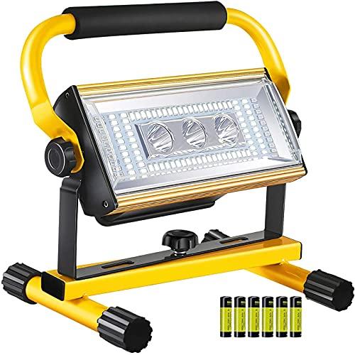 WOERD Foco LED Batería Recargable, Luz de Trabajo Portátil, 100W 6 Modos de Luz Luz de Construcción IP65 Impermeable Rotación de 360 ° Portátil para Exploración Garaje Camping Jardín