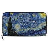Ahomy Van Gogh Starry Night Moon Donna Borsa in Pelle Signora Carte di Credito Frizione Titolare Portafogli Lunghi