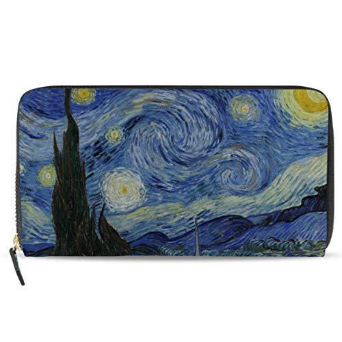 Ahomy Van Gogh Starry Night Moon - Portafoglio da donna in pelle con porta carte di credito