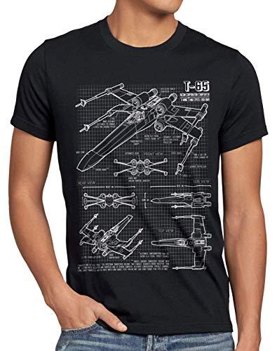 style3 X-Wing Homme T-Shirt Dessin Bleu t-65, Taille:2XL, Couleur:Noir