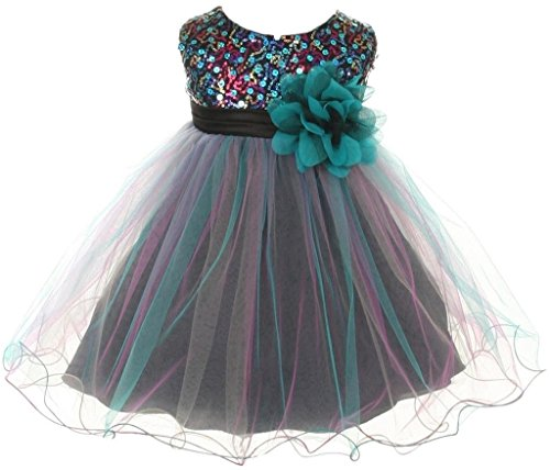 Baby Girls Toddler Multi Sequins Tulle Special Occasion Infant Baby Flower Girl Dress Teal L (K32D8)
