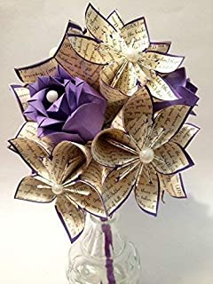 Dozen I Love You Paper Flowers & Roses- You choose text & colors, One of a kind origami, one of a kind gift, wedding bouquet, paper bouquet, traditional first anniversary gift