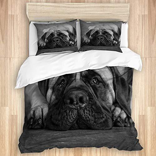 VAMIX Juego de Funda de edredón y de Almohada de Microfibra,Bulldog Ingles Blanco y Negro,Funda nórdica cama-240 x 260 cm