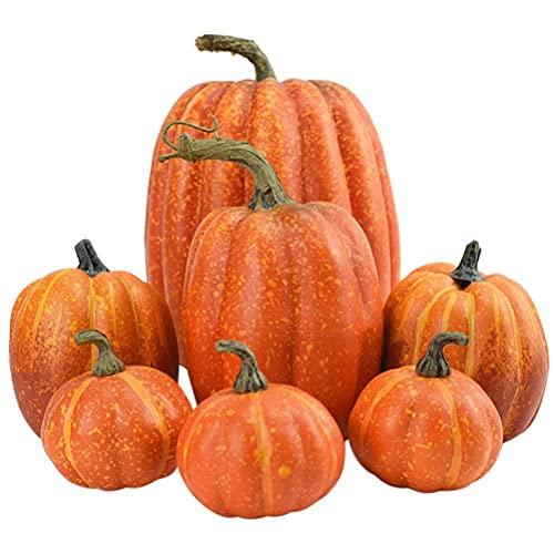 7 Piezas Mini Calabazas Otoño Artificiales, Frutas Falsas, Calabazas Artificiales Halloween, Material de espuma, para Halloween Acción de Gracias Fall Harvest Home Decoration Props