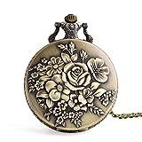 Fine Vintage Flower Bronze Case Pocket Watch Quartz Necklace Pocket Watch with Chain As Xmas (Gold)