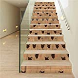 3D Stair Sticker DIY Removable Self Adhesive Stickers, Coffee Coffee Cups Espresso, Indoor and Outdoor Stair Treads to Prevent Slipping, W43.3 x H7.08 Inch x13PCS
