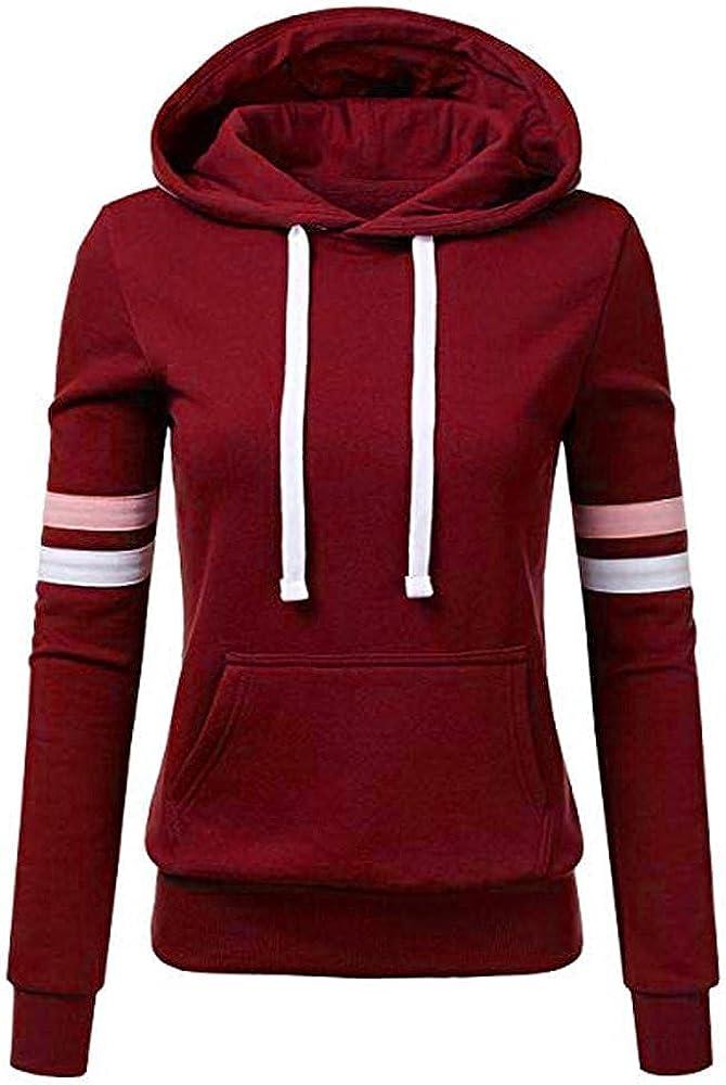ONHUON Cute Hoodies for Women,Womens Stripe Sweatshirt Long Sleeve Splice Tops Loose Hoodies Teens Girls Casual Pullover