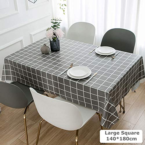 Table Cloth Wipeable, PVC Vinyl Waterproof Wipe Clean Rectangular Tablecloths, Heavy Weight Grey Grid Print Oil-proof Stain Resistant Mildew Proof Party Table Cloths for Rectangle Table, 140x180cm