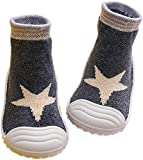 HOWELL Baby Boys Girls Sock Shoes Infant Soft Rubber Sole Shoes Anti-slip Breathable Cotton First Walking Shoes, Grey Star 7 Toddler