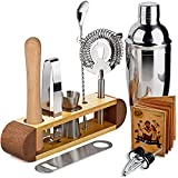 TJ.MOREE Bartender Kit with Stand, 11-Piece Bar Tool Set Cocktail Set Perfect Home Bartender Set and Martini Shaker Set for Drink Mixing Experience - Sapele