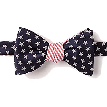 Mens Patriotic Stars USA 4th of July Butterfly Self Tie Bow Tie