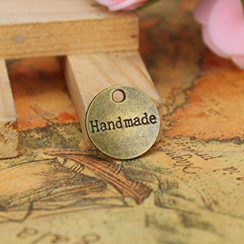 Hongma 50pcs Etiquetas Handmade Doble Cara Metal Redondas