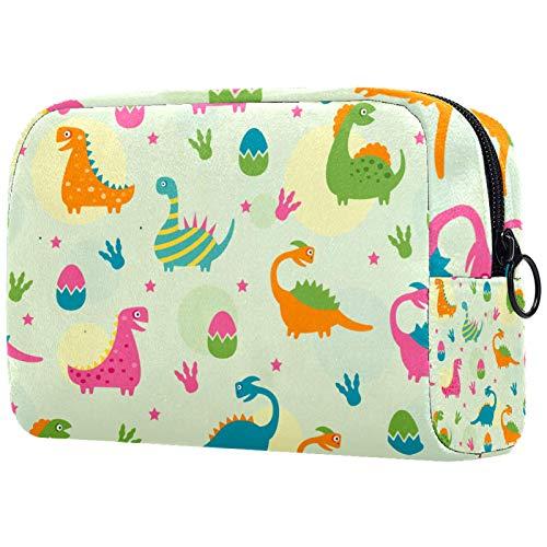 ATOMO Bolsa de maquillaje, bolsa de viaje cosmética grande, bolsa de aseo organizador de maquillaje para mujeres, coloridos dinosaurios huevos