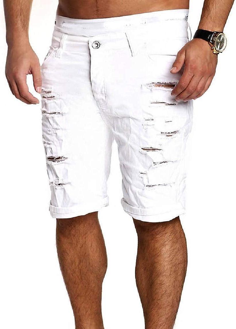 Alilyol Men Boy Skinny Destroyed Ripped Runway Straight Short Denim Pants Runway Summer Ripped Jeans Shorts Plus Size