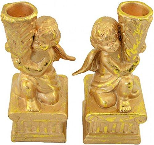 '2pezzi candela decorativa supporto candele portacandele 'Angelo, colore: oro, 14,5cm. non solo come decorazione per Natale adatto.