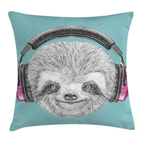 Sloth Throw Pillow Cushion Cover by Ambesonne, DJ Sloth Portrait with Headphones Funny Modern Character Cool Cute Smiling, Decorative Square Accent Pillow Case, 18 X 18 Inches, Teal Grey Fuchsia