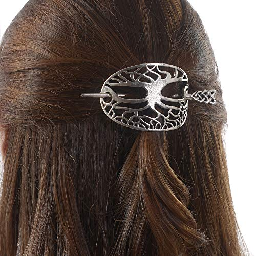 Viking Celtic Hair Clips Hairpin-Wiccan Tree of Life Hair Clip Men Hair Sticks Hairpin for Long Hair Slide Irish Hair Accessories Celtic Knot Hair Pin Viking Jewelry Women